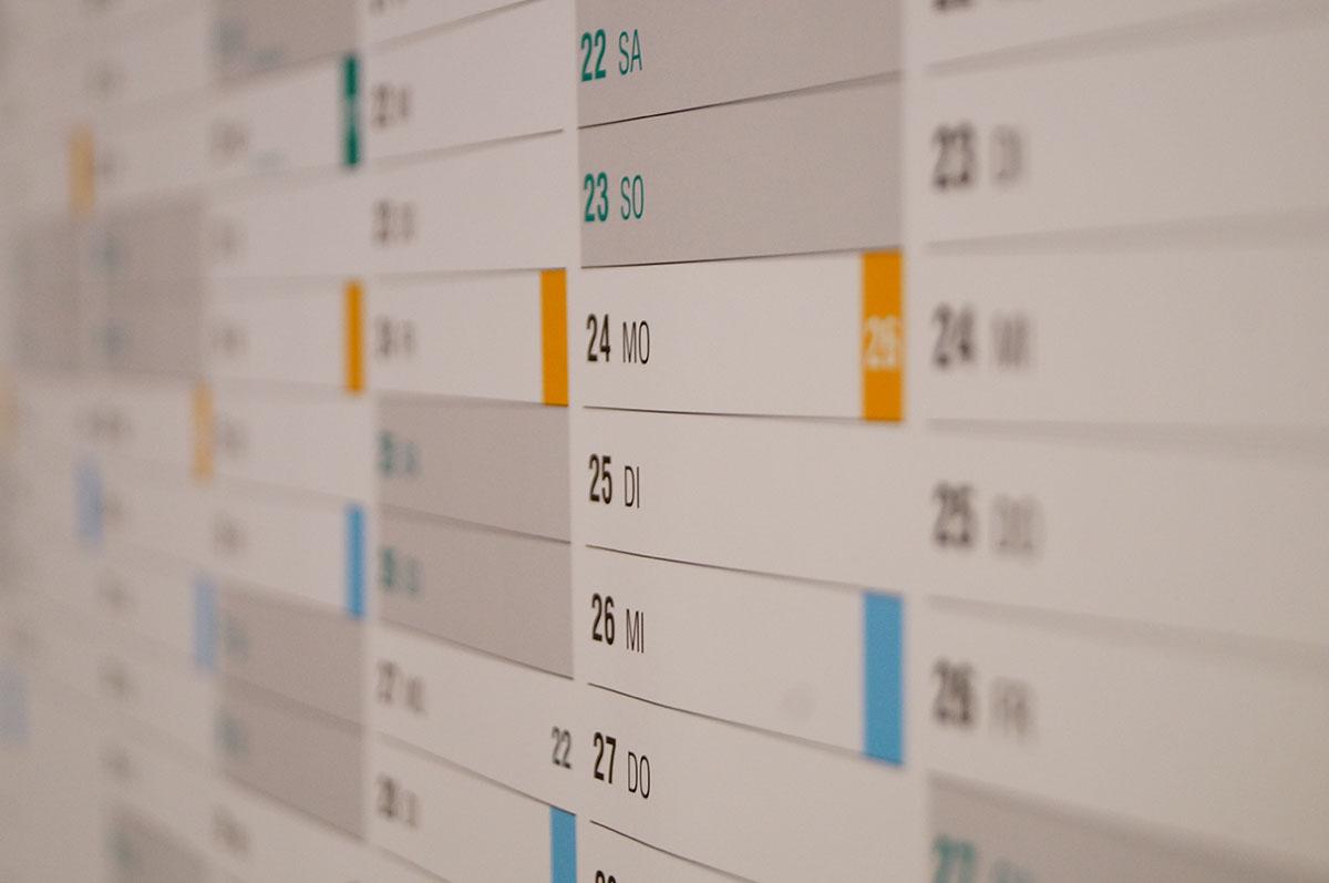 Kalender mit Fälligkeitsterminen