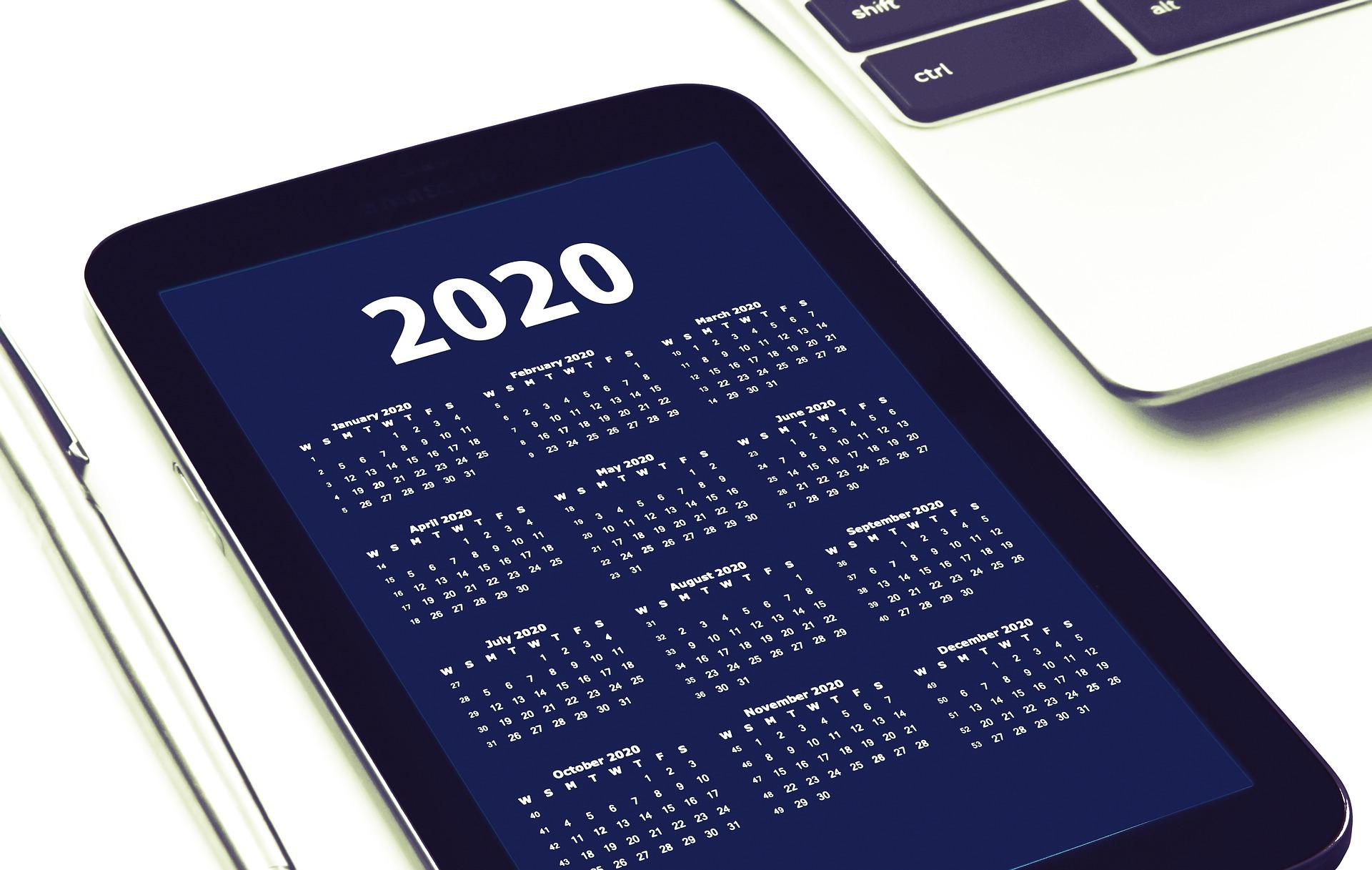 Smartphone mit Kalender 2020